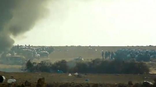 Marokkanische Polizei vor dem Camp