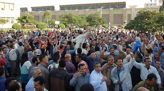 Anfänge des Aufstandes: Protestierende Textilarbeiter in Mahalla al-Kubra im Oktober 2008