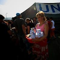 Flüchtlingslager nach dem Krieg 2008